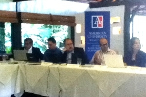 From left to right: Manuel Torres, Ricardo Barrientos, Hugo Noé Pino, Aaron Schneider and Elizabeth Oglesby participating in the project seminar in Costa Rica