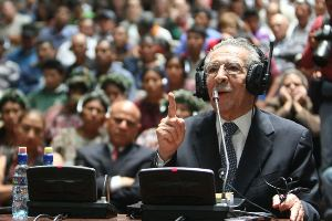 Efrain Rios Montt testifying at his genocide trial | Photo by the Guatemalan government | public domain