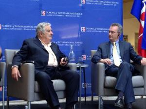 President José Mujica on stage with SIS Dean James Goldgeier