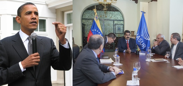 (l) President Obama, (r) UNASUR Commission Visits Venezuela. Photo Credits: Steve Jurvetson and Cancillería de Ecuador / Flickr / Creative Commons