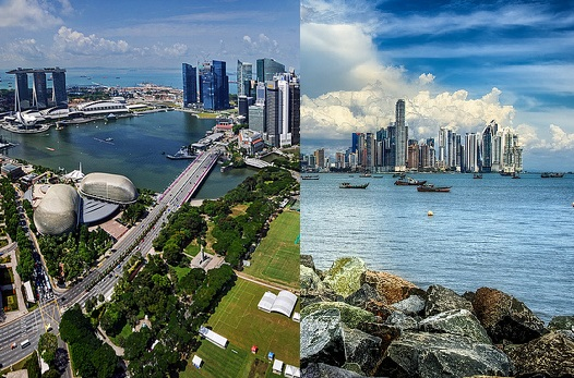 Singapore (left) and Panama City (right) / William Cho and Jim Nix / Flickr / Creative Commons