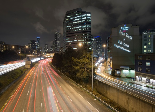 "In more than 10 cities across the U.S. activists will use guerrilla light projection to illuminate monuments and building facades with slogans like ""Don't Let Comcast Choke Your Freedom,"" ""No Slow Lanes, Open & Equal Internet For All,"" and ""TPP Dismantles Democracy."