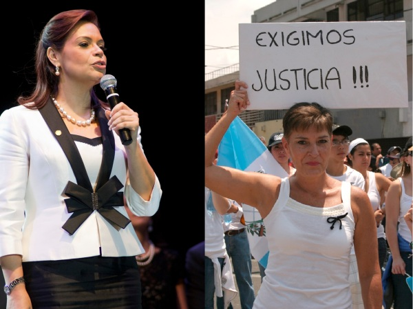 "Former Vice President of Guatemala Roxana Baldetti (l) and a protestor with sign ""We demand justice"" Photo Credits: Surizar / Flickr / Creative Commons"