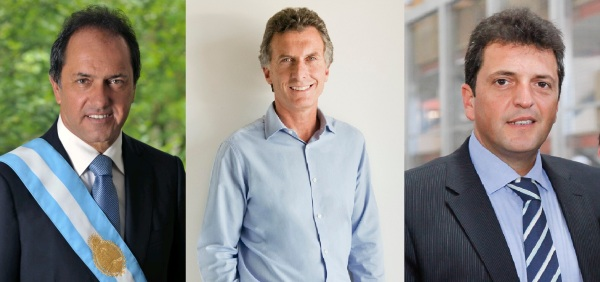Candidates, left to right: Daniel Scioli, Mauricio Macri, and Sergio Massa. Photo Credits: Cgazzo, Inés Tanoira, and Tigre Municipio, respectively / Wikimedia Commons / CC BY 2.0