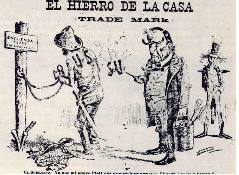 Political cartoon depicting U.S. Cuba relations in 1903