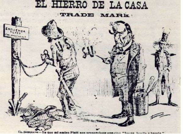 Political cartoon depicting U.S. Cuba relations in 1903