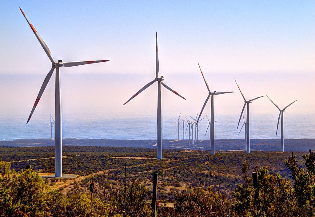 Giant wind turbines in Northern Chile