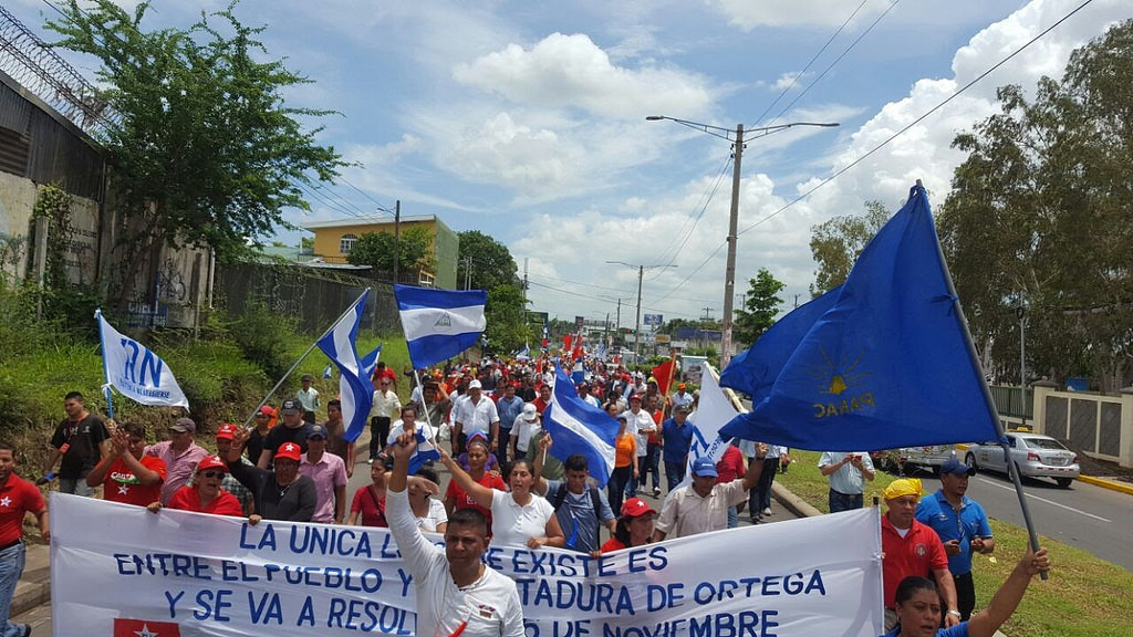 A group of people holding Nicaraguan flags and banners protest outside