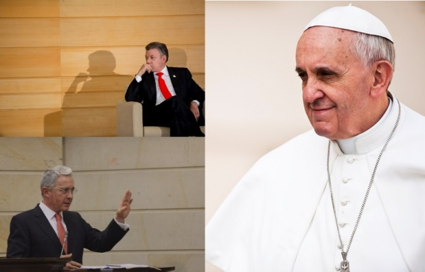 Composite image of Santos, Uribe, and Pope Francis