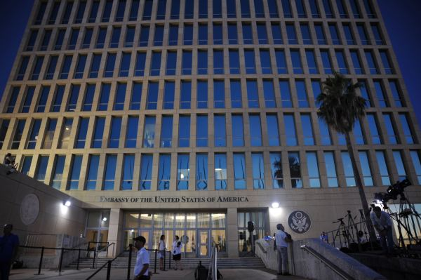 U.S. Embassy in Cuba at dusk