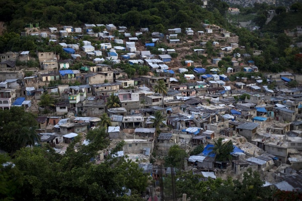 A bird's eye view of a residential neighborhood in Haiti