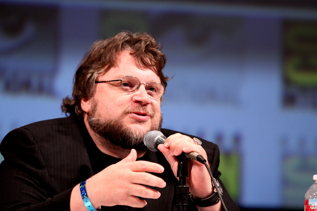 Guillermo del Toro speaks on a panel
