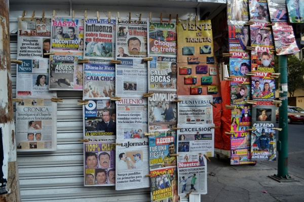 Newspaper stand in Mexico City