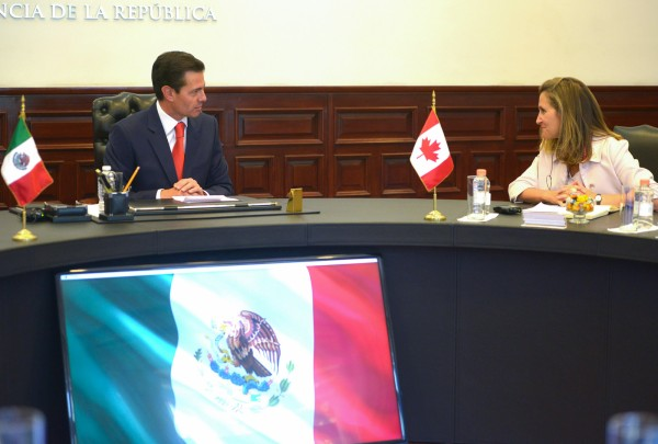 Chrystia Freeland meets with Mexican President Enrique Peña Nieto