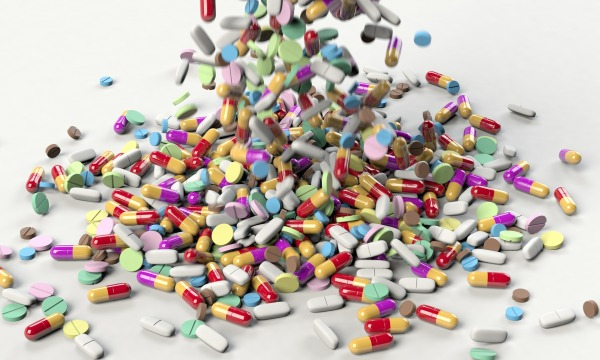 Colorful pills in capsule form and tablet form