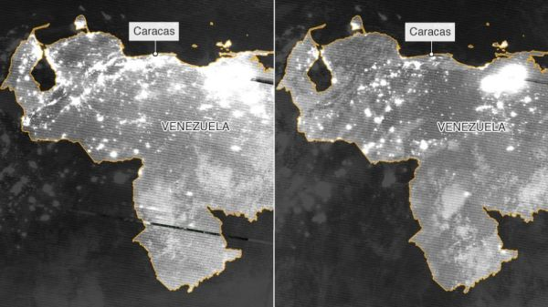 Two side by side images of Venezuela's territory comparing the electrical grid on March 7 and March 12, after six days of blackout