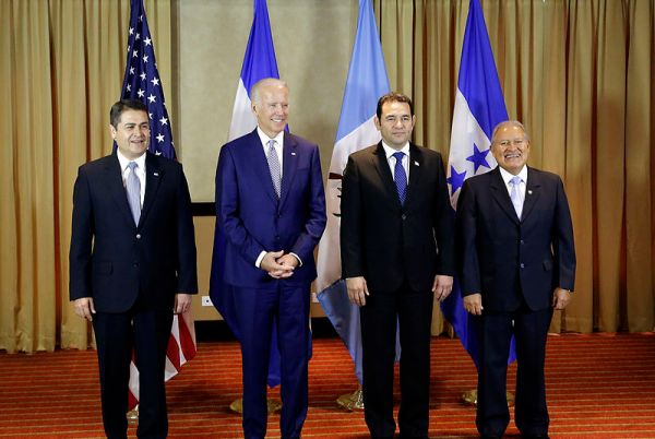 Honduran President Juan Orlando Hernández, U.S. Vice President Joe Biden, Guatemalan President Jimmy Morales, and El Salvador President Salvador Sánchez Cerén during a Northern Triangle meeting on January 14, 2016