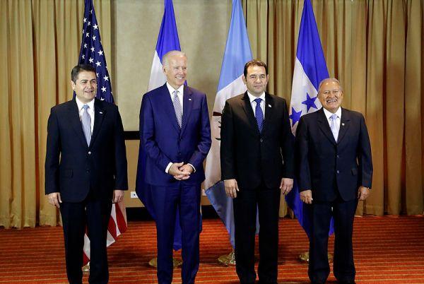 Honduran President Juan Orlando Hernández, U.S. Vice President Joe Biden, Guatemalan President Jimmy Morales, and El Salvador President Salvador Sánchez Cerén during a Northern Triangle meeting on January 14, 2016