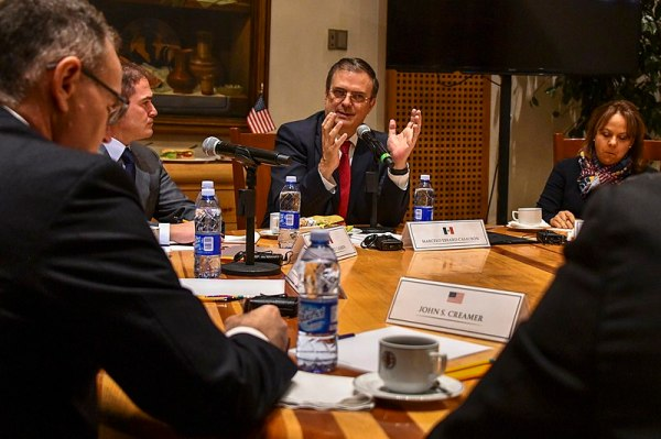 Mexican Foreign Secretary Marcelo Ebrard speaks during a meeting in 2018, during which U.S. Secretary Mike Pompeo was present