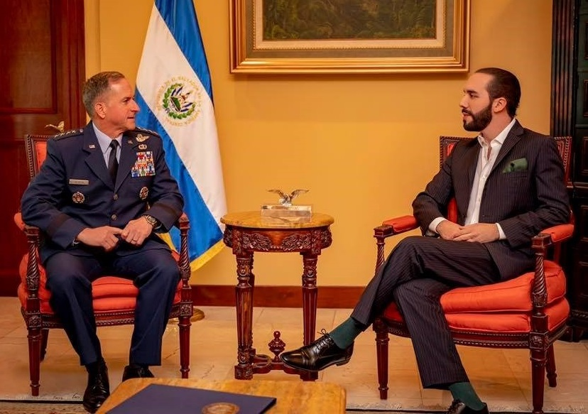 U.S. Air Force Chief of Staff Gen. David L. Goldfein meets with El Salvador's newly elected President Nayib Bukele