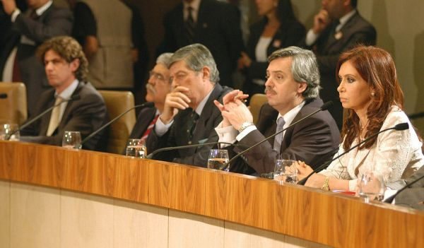 From right to left, Cristina Fernandez de Kirchner and Alberto Fernandez, and other ministers