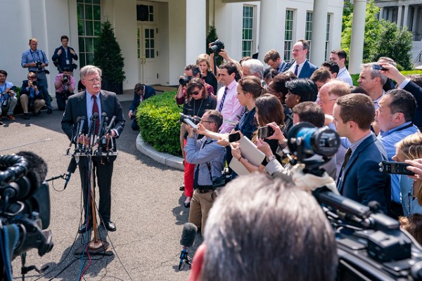 Former White House National Security Adviser John Bolton speaks to reporters on events occurring in Venezuela Tuesday, April 30, 2019, outside the West Wing entrance of the White House.