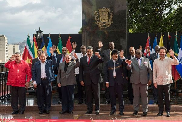 Heads of state stand for a picture at the 14th ALBA Summit held in Caracas in 2017