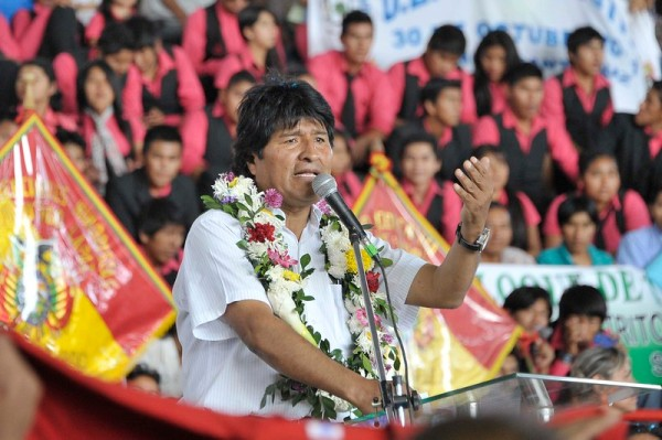 Bolivian President Evo Morales speaking to students in Guarnes, Santa Cruz.