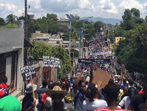 Protesters take to the streets in 2018 over the government's misuse of funds from PetroCaribe.