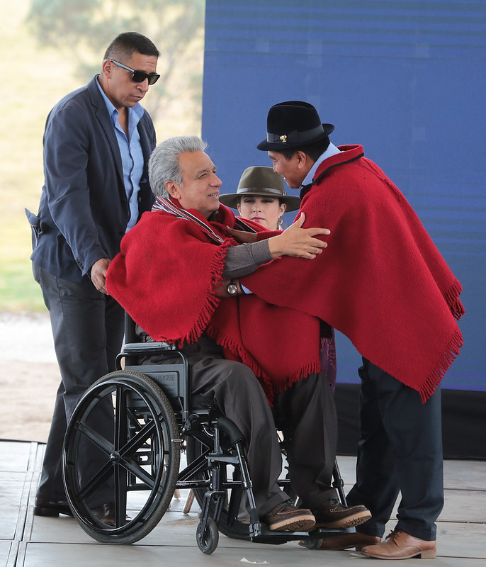 President Lenín Moreno greets an indigenous leader on September 12, 2019.