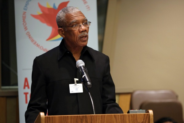 President David Granger speaking at a UN Women's Meeting