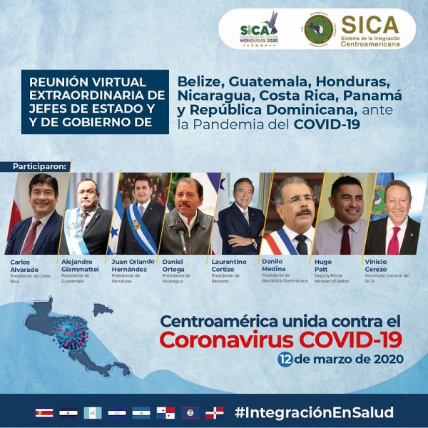 Presidents of Central America participate on a SICA virtual meeting