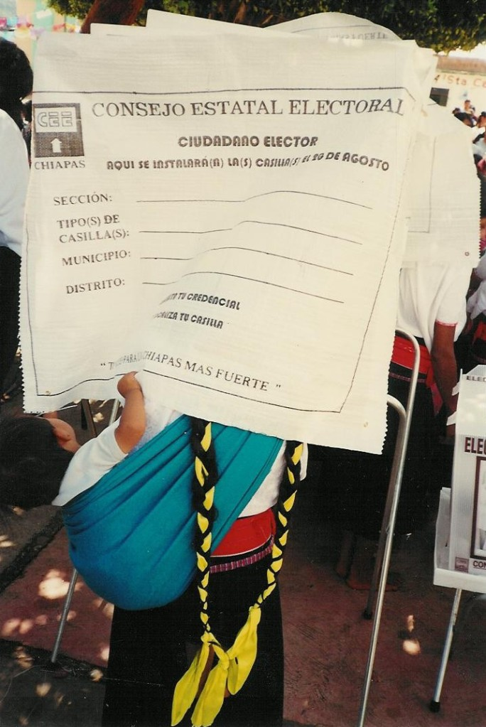 Polling station in the outskirts of San Cristóbal de las Casas in Chiapas, Mexico, during the 2003 gubernatorial election in Chiapas.